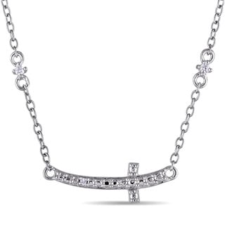 Miadora 1/10ct TDW Diamond Station Cross Necklace in Sterling Silver