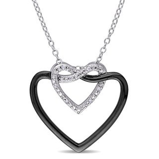 Diamond Accent Heart Infinity Necklace in Sterling Silver with Black Rhodium Plating by Miadora