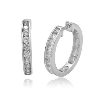 10k White Gold 1/4ct TDW Round Diamond Hoop Earrings