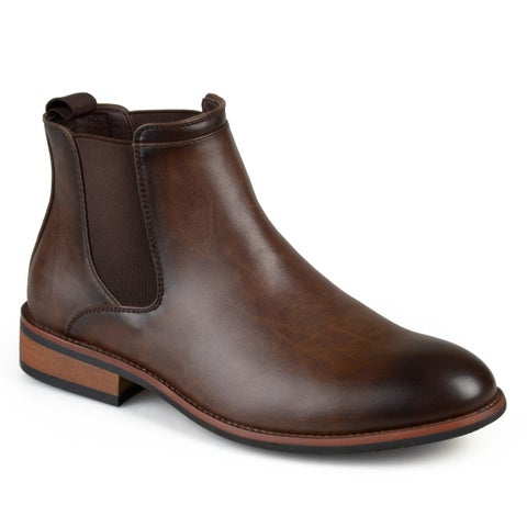 Vance Co. Men's Landon Chelsea Faux-leather Round-toe High-top Dress Boots