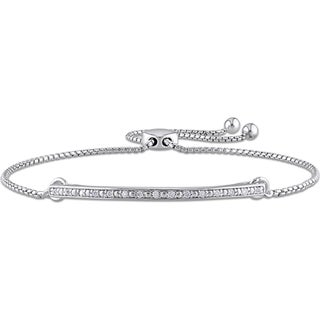 Miadora 1/10ct TDW Diamond Adjustable Slider Bracelet in Sterling Silver - White