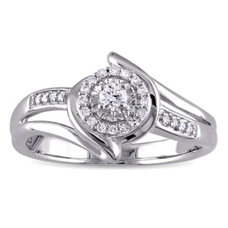 Miadora 1/5ct TDW Diamond Halo Bypass Ring in Sterling Silver