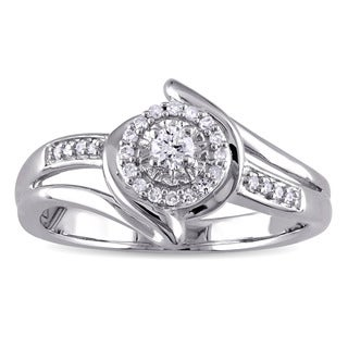 Miadora 1/5ct TDW Diamond Halo Bypass Ring in Sterling Silver - White