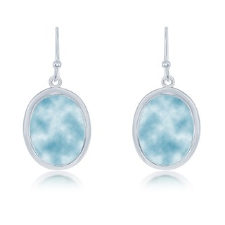 La Preciosa Sterling Silver Natural Larimar Oval Dangle Earrings