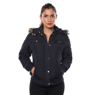 Ladies' Faux Fur-lined Polyester Detachable-hood Zipper Pocket Jacket