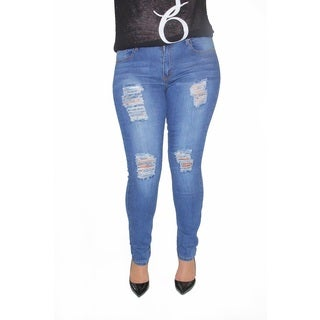 Juniors' Blue Denim Plus size Jeans with Rips and Tears