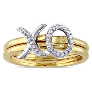 1/10ct TDW Diamond XO Stackable 2-Piece Ring Set in 2-tone White and Yellow Plated Sterling Silver by Miadora