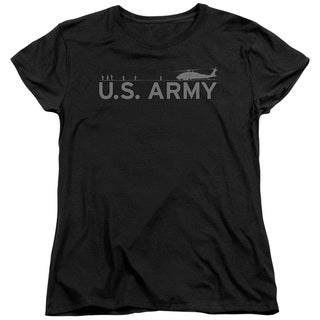 Army/Helicopter Short Sleeve Women's Tee in Black