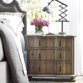 Beige Wood 3-Drawer Nightstand