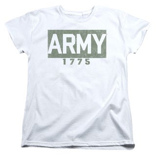 Army/Block Short Sleeve Women's Tee in White