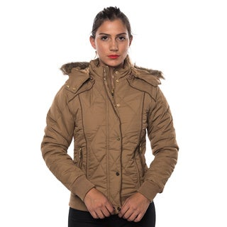 Women's Polyester Faux Fur Lined Detatchable Hooded Jacket