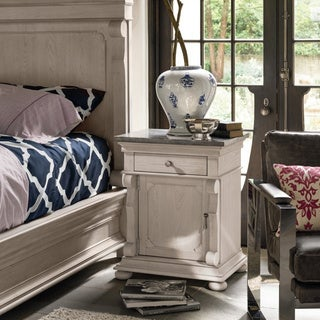 Beige Single Drawer Nightstand