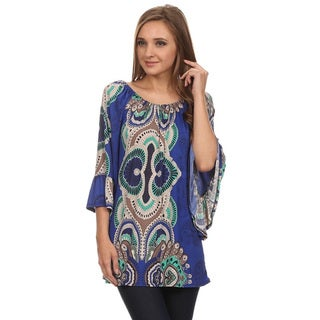 Women's Abstract Multicolored Polyester/Spandex Loose-fit Top