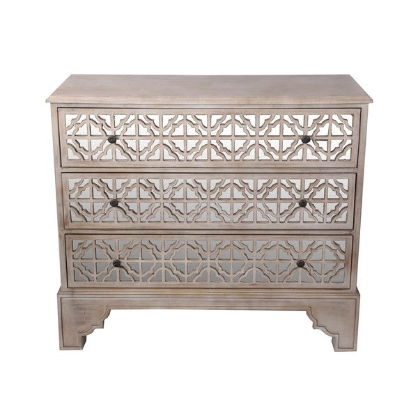 Incroyable Privilege Brown 3 Drawer Mirror Accent Chest