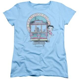 Boop/Betty's Trolley Short Sleeve Women's Tee in Light Blue