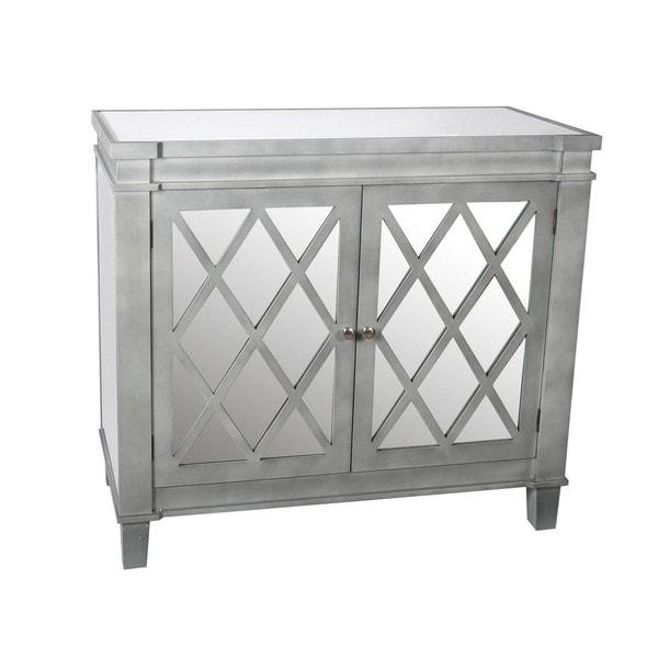 Ordinaire Privilege Silver 2 Door Mirrored Accent Cabinet