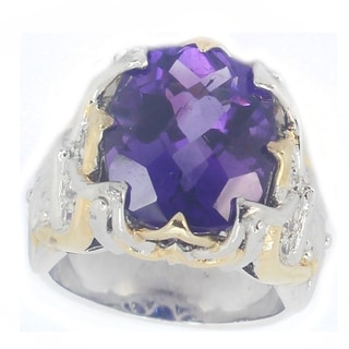 One-of-a-kind Michael Valitutti Amethyst and White Sapphire Cocktail Ring