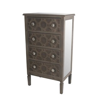 Privilege Mirrored 4-drawer Accent Stand