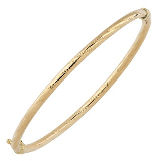 Fremada Italian 14k Yellow Gold 3-mm High Polish and Diamond-cut Finished Bangle Bracelet