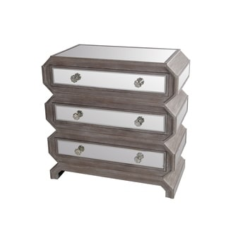 Privilege Mirrored Geometric 3-drawer Accent Stand
