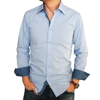Men's Baby Blue Color Trimmed Slim-fit Dress Shirt