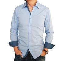 Men's Baby Blue Color Trimmed Slim-fit Dress Shirt