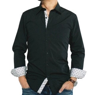 Men's Black Cotton/ Polyester Slim-fit Dress Shirt