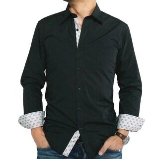 Men's Black Cotton/ Polyester Slim-fit Dress Shirt