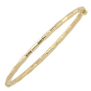 Fremada Italian 14k Yellow Gold 3-mm Diamond-Cut Finished Bangle Bracelet
