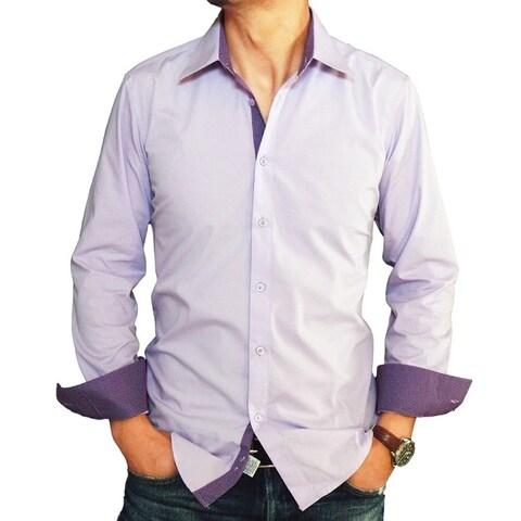 Men's Lavender Cotton and Polyester Trimmed Slim-fit Dress Shirt