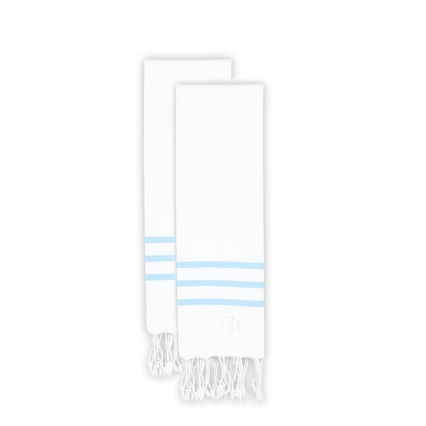 Authentic Ella White with Sky Blue Stripes Monogrammed Pestemal Fouta Turkish Cotton Hand Towel (Set of 2)