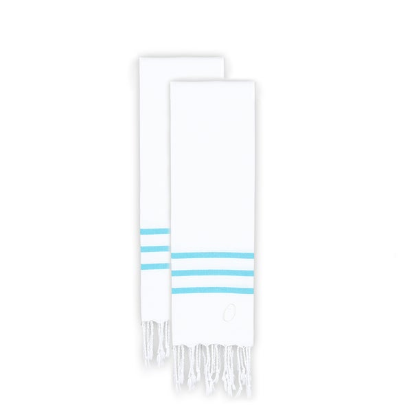 Authentic Ella White with Turquoise Blue Stripes Monogrammed Pestemal Fouta Turkish Cotton Hand Towel (Set of 2)