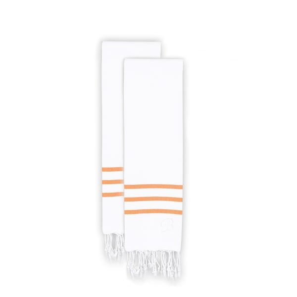 Authentic Ella White with Dark Orange Stripes Monogrammed Pestemal Fouta Turkish Cotton Hand Towel (Set of 2)