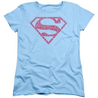 Superman/ Word Shield Short Sleeve Women's Tee in Light Blue
