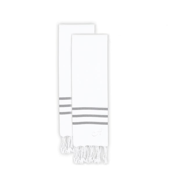 Authentic Ella White with Grey Stripes Monogrammed Pestemal Fouta Turkish Cotton Hand Towel (Set of 2)