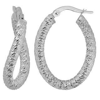 Fremada Italian 14k White Gold Diamond-cut Twist Design Oval Hoop Earrings