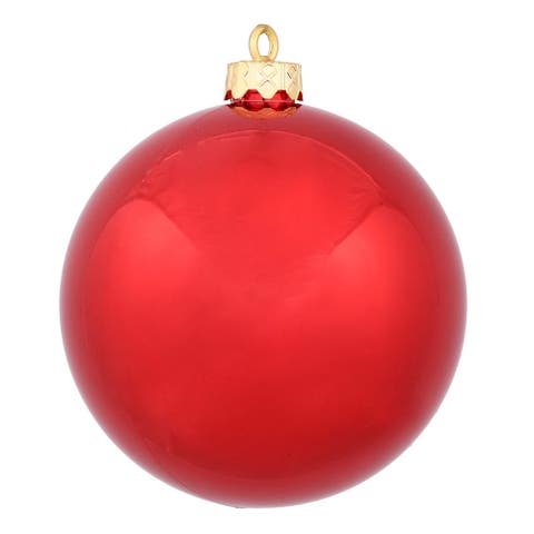 Red Plastic 3-inch Shiny Ball Ornament (Pack of 12)