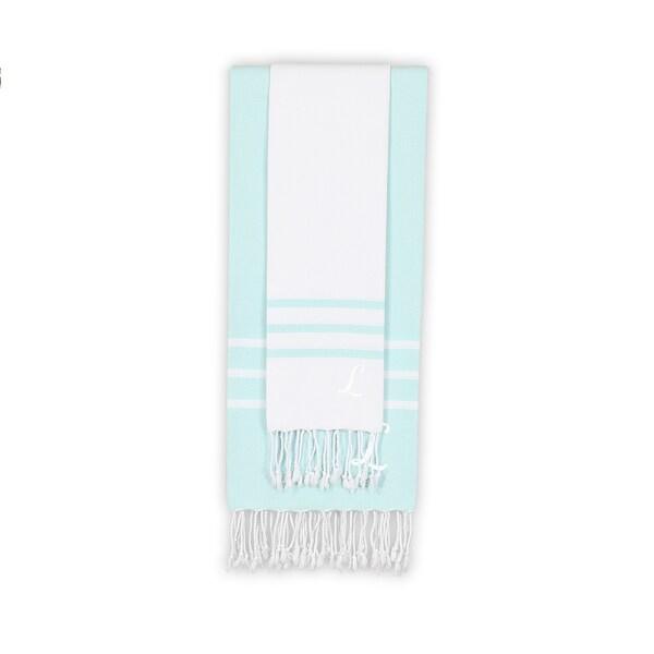 Authentic Ella White and Soft Aqua Monogrammed Pestemal Fouta Turkish Cotton Beach and Head Towel Set