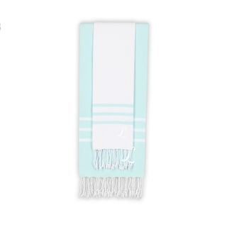 Authentic Ella White and Soft Aqua Monogrammed Pestemal Fouta Turkish Cotton Beach and Head Towel Set