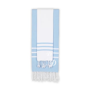 Authentic Ella White and Sky Blue Monogrammed Pestemal Fouta Turkish Cotton Beach and Head Towel Set