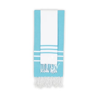Authentic Ella White and Turquoise Blue Monogrammed Pestemal Fouta Turkish Cotton Beach and Head Towel Set