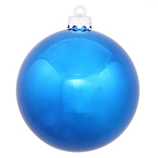 Blue Plastic 3-inch Shiny Ball Ornaments (Case of 12)