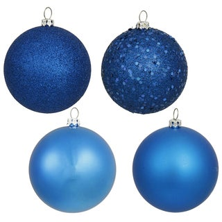 Blue Plastic 3-inch 4-finish Assorted Ornament (Pack of 16)