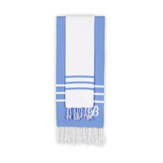 Authentic Ella White and Royal Blue Monogrammed Pestemal Fouta Turkish Cotton Beach and Head Towel Set