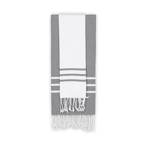 Authentic Ella White and Grey Monogrammed Pestemal Fouta Turkish Cotton Beach and Head Towel Set