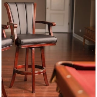 Hathaway Avondale Black Wood 32-inch Swivel Bar Stool