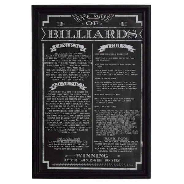 'Billiard Game Rules' Wall Art