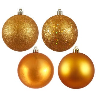 Antique Gold Plastic 2.75-inch 4-finish Assorted Ornaments (Case of 20)
