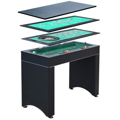 Monte Carlo 4-In-1 Multi Game Casino Table with Blackjack Roulette Craps and Bar Table - Includes Accessories