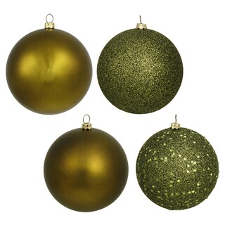 Olive Plastic 2.75-inch 4-finish Assorted Ornaments (Case of 20)